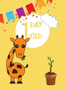 Giraffe, Banner, Colourful,1 day old, personalised online greeting card