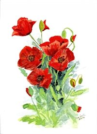General art Red poppies flowers British Legion November personalised online greeting card