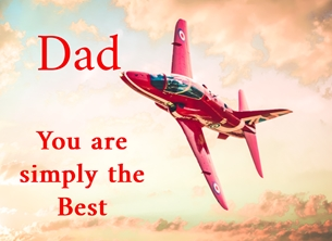O Scrimshaw Photography Red One - simply the best Fathers birthday Father's Day, father's, dad, granddad, simply, -him, aeroplane, plane, jet, red arrow, red personalised online greeting card