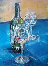 art Wine, Glass, Painting, bottle, celebration personalised online greeting card