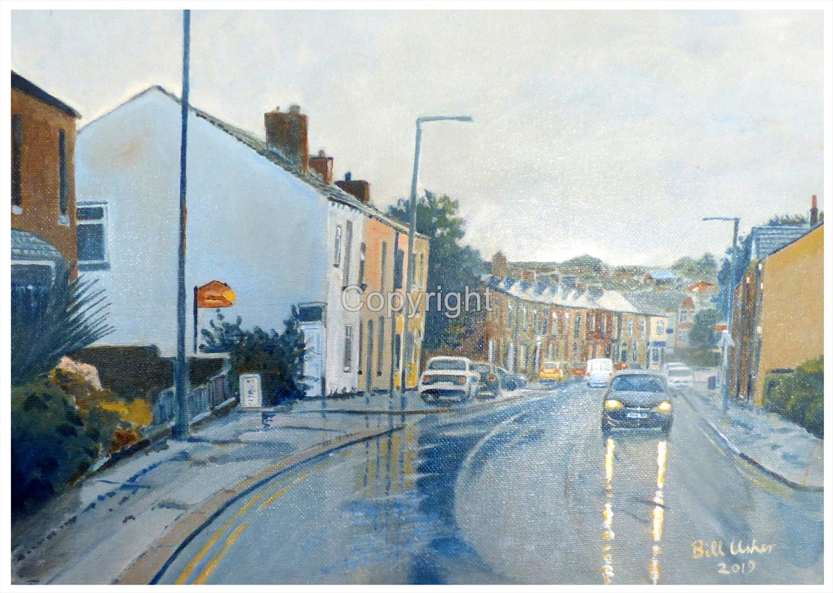 Bolton Road, Westhoughton in summer rain