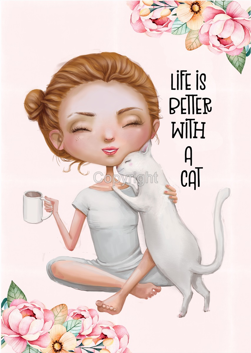 Life With Cats Print