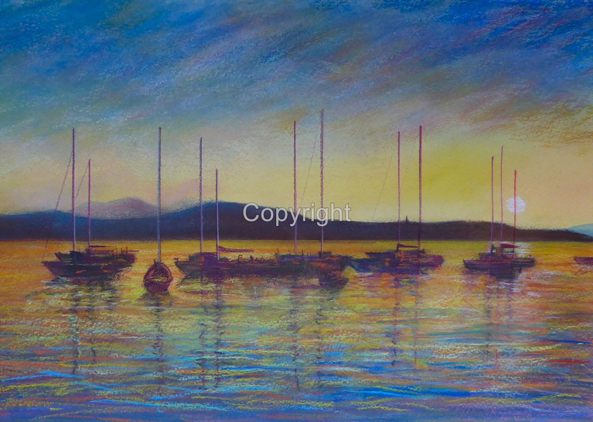 ''Oban Bay Sunset Boats''
